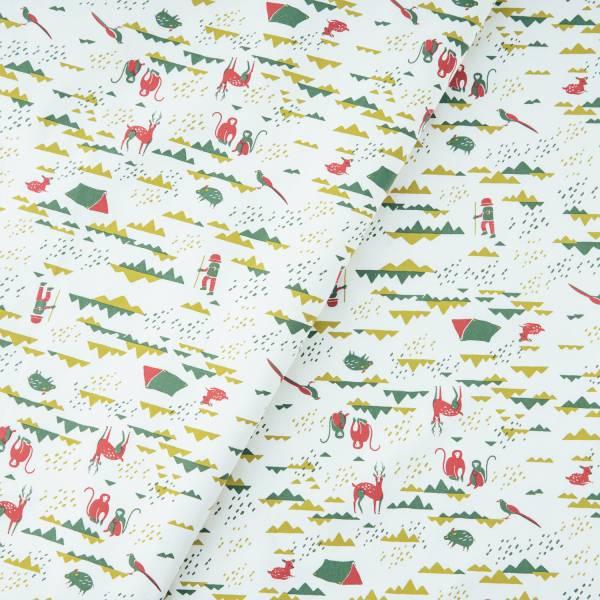 手印棉帆布(滿花)-250g/y/山中健行/清新紅綠 布料, 棉帆布, 手作材料