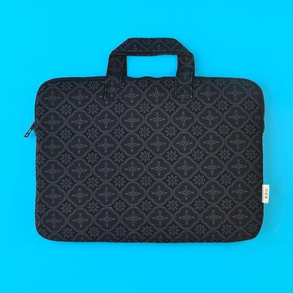 13吋筆電收納包/玻璃海棠/紳士黑色 筆電包, 筆電袋