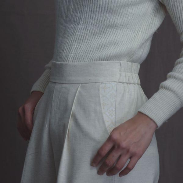 寬版打褶長褲/雜花/素色棉麻米白 長褲