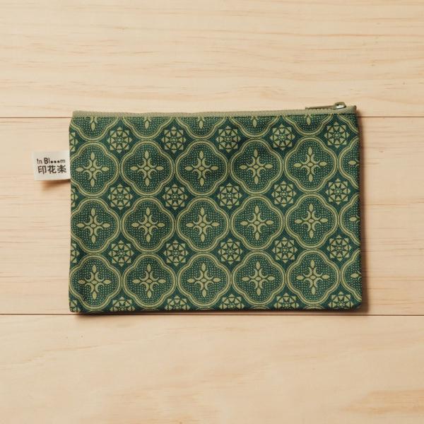 拉鏈文具袋-L14/玻璃海棠/古董草綠 筆袋, 收納包, 文具袋, 化妝包, 盥洗包