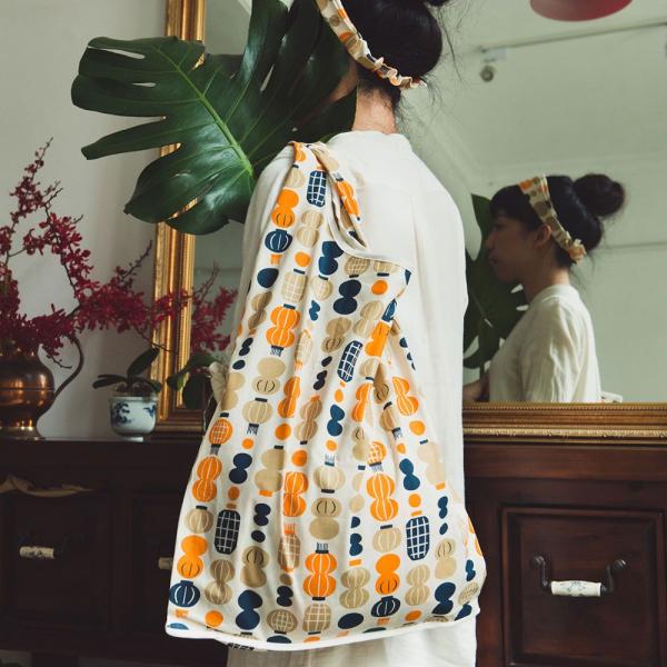 市場背心袋/米力系列/燈籠/橘藍 購物袋