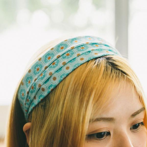 寬版髮帶/老磁磚2號/汽水碧藍 髮帶, 配件, 髮飾, 髮箍