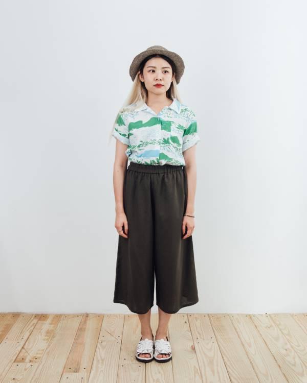 復古短襯衫/雜花/縱谷綠 襯衫,復古,夏季