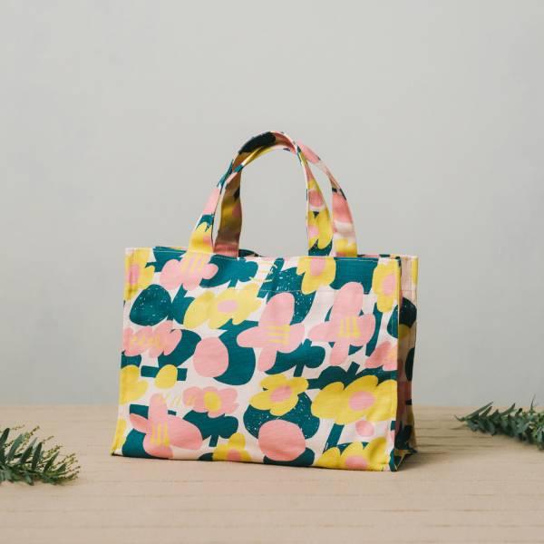 單釦長方便當袋/藝術家聯名/印花樂 x UULIN/荷包蛋花朵/粉色 飲料提袋, 便當袋, 方形袋,袋子,小袋子