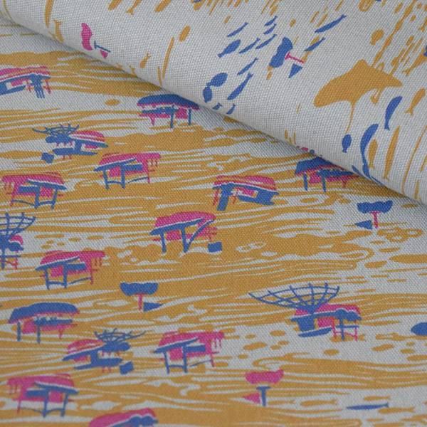 手印棉帆布-250g/y/海的寶物_漁船/灰藍紫紅 布料, 棉帆布, 手作材料