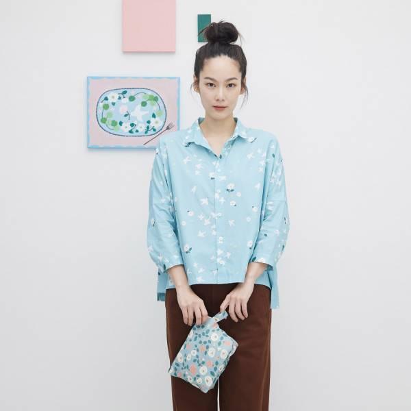 【限量】中性寬版八分袖襯衫/藝術家聯名/印花樂 x 米力/幸福白鴿 襯衫,寬版襯衫,八分袖襯衫
