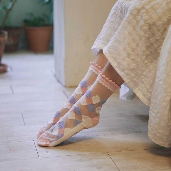 中低筒透膚襪/玻璃海棠2號/霧花粉