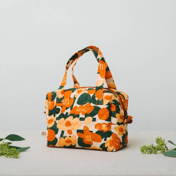 鋪棉便當袋/藝術家聯名/印花樂 x UULIN/荷包蛋花朵/橘色 便當袋