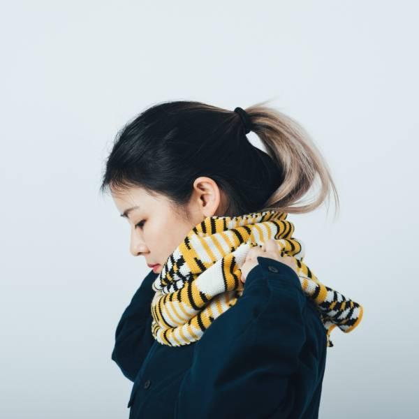 緹花圍巾/印花樂 x Yu Square/圓點黃黑 圍巾, 針織圍巾