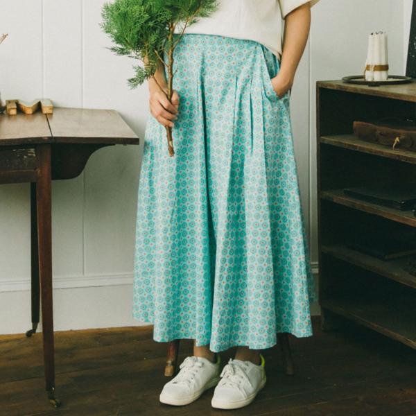 寬版打褶長裙/老磁磚2號/汽水碧藍 長裙