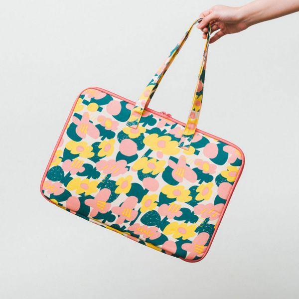 15.5吋筆電收納包-差旅款/藝術家聯名/印花樂 x UULIN/荷包蛋花朵/粉色 筆電包, 筆電袋, 電腦包