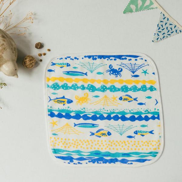 寶寶紗布小方巾/海的寶物_魚群/活力黃藍 口水巾, 方巾, 紗布方巾