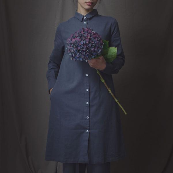 長袖長版襯衫/雜花/素色棉麻灰藍 長版襯衫