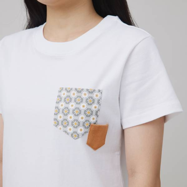 印花口袋棉T/老磁磚2號/白/灰棕