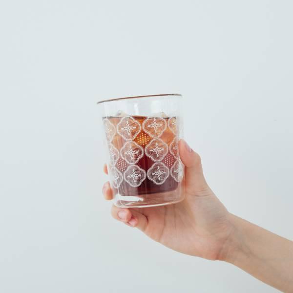 印花樂X好玻-雙層杯/玻璃海棠/輕盈白 玻璃杯,雙層玻璃杯