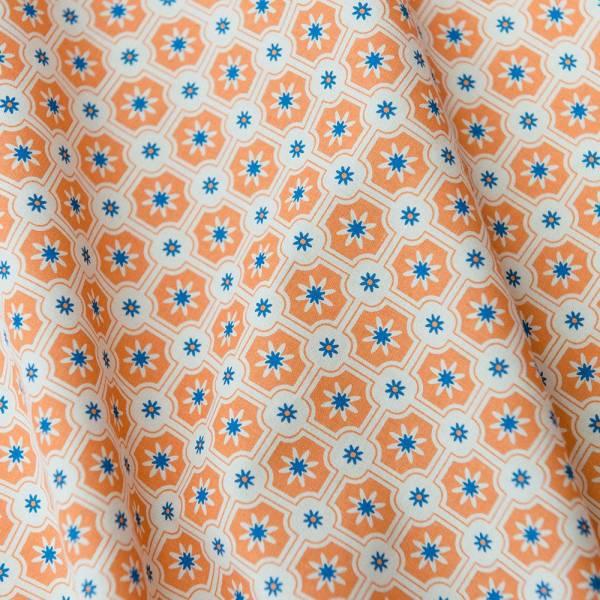 寬幅平織印花棉布/老磁磚2號/烤杏仁色 布料, 棉布, 手作材料