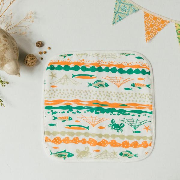 寶寶紗布小方巾/海的寶物_魚群/玩具橘綠 口水巾, 方巾, 紗布方巾