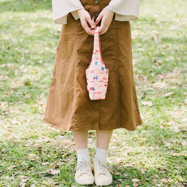 【有機棉】隨行杯兔耳袋/山中健行/花卉藍紅 飲料提袋,環保飲料提袋, 隨行杯提袋, 兔耳袋