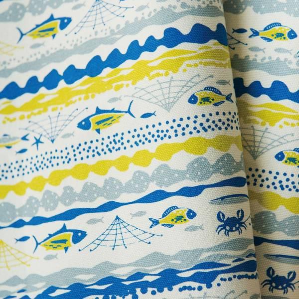 手印棉帆布-400g/y/海的寶物_魚群/香草黃 布料, 棉帆布, 手作材料