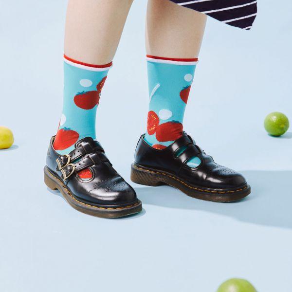 中低筒透膚襪/限定花色/蕃茄切盤/天藍色 戀夏冰果室 ,冰果室,復古印花,文青穿搭,襪子
