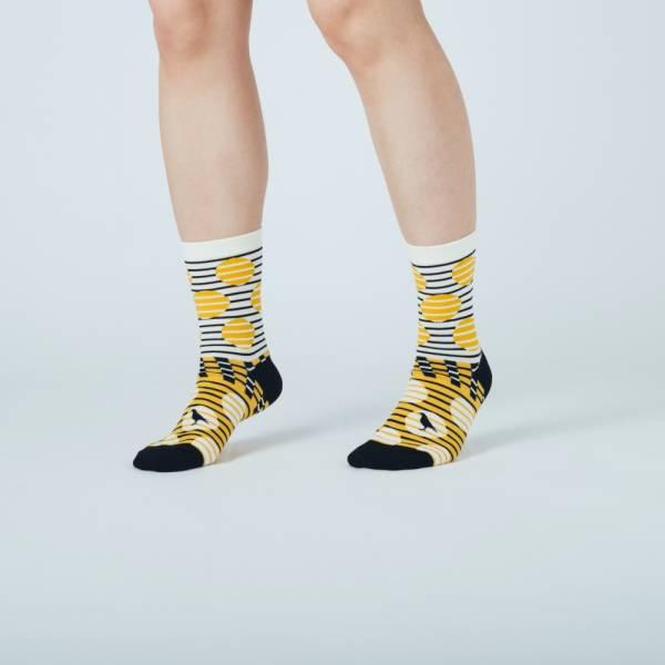 緹花中筒襪/印花樂 x Yu Square/圓點黃黑 襪子, 中筒襪
