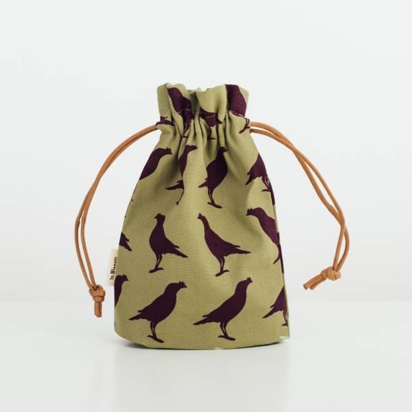 束口小物袋/台灣八哥5號/油畫紫綠 束口袋, 收納袋