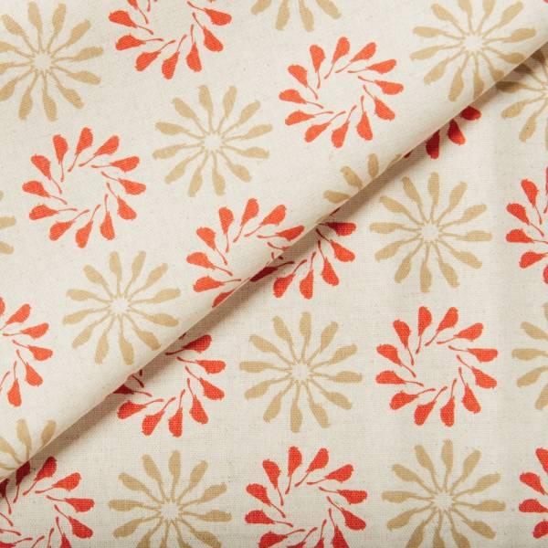 寬幅棉麻布/烏秋圈圈/紅灰褐 布料, 棉麻布, 印花布, 手作材料