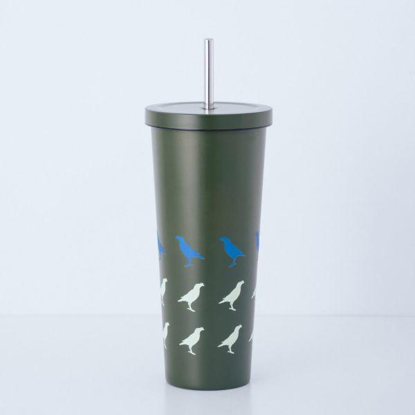 印花樂xWOKY不鏽鋼吸管杯700ml/台灣八哥/綠