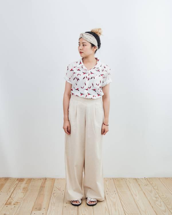 復古短襯衫/朱鸝/經典紅黑 襯衫,復古,夏季