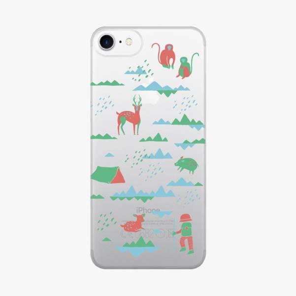 【現貨】印花樂X犀牛盾MOD背板-iPhone X/山中健行/背蓋透明紅綠 手機殼, 手機套, 犀牛盾, iPhone 手機殼
