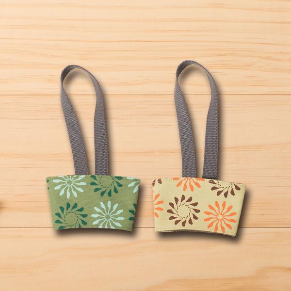 飲料杯提帶兩件組/烏秋圈圈/乾草黃綠+苔蘚綠 飲料杯提袋, 環保提袋, 環保飲料袋