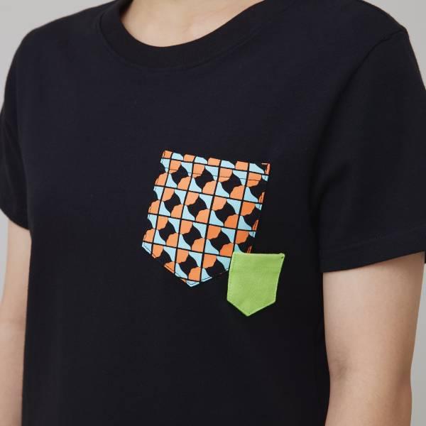 印花口袋棉T/老磁磚3號/黑/橘綠