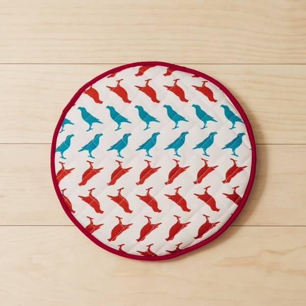 鋪棉綁繩坐墊-圓形/台灣八哥5號/古宅紅粉 椅墊, 坐墊