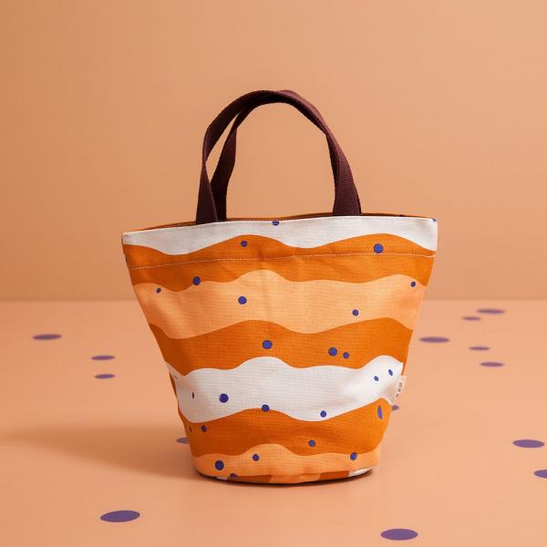 圓底小提袋/珍珠奶茶/焦糖茶色 手提袋, 手提包