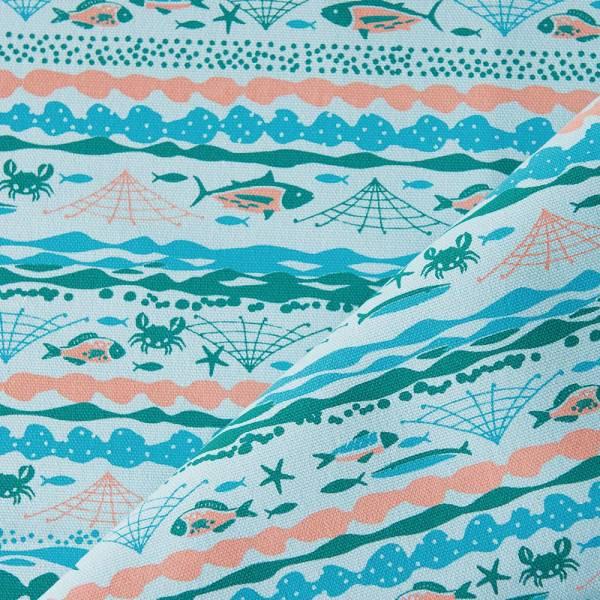 手印棉帆布-250g/y/海的寶物_魚群/淺水藍 布料, 棉帆布, 手作材料