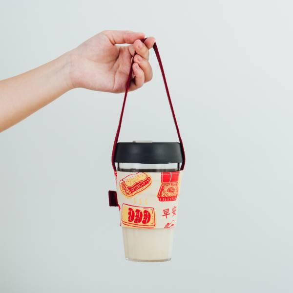飲料杯吸管提帶/雜花/台灣早餐紅色 飲料提袋