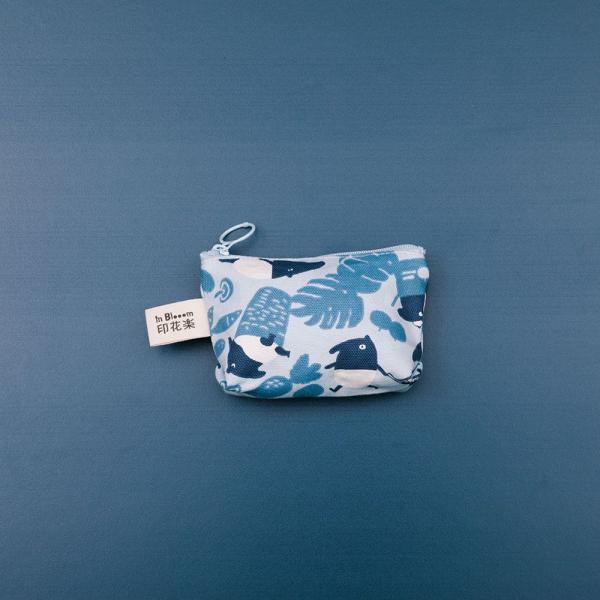 小東西拉鏈包/限定花色/印花樂x馬來貘-中性藍 零錢包