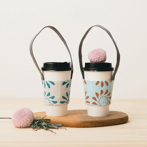 飲料杯提帶兩件組/烏秋圈圈/沉靜藍褐+岩石藍灰 飲料杯提袋, 環保提袋, 環保飲料袋