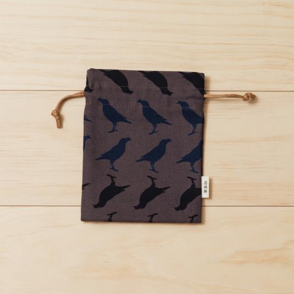 束口小物袋/台灣八哥5號/工匠灰黑 束口袋, 收納袋