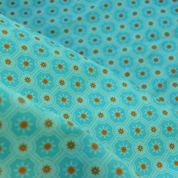 寬幅平織印花棉布/老磁磚2號/汽水碧藍 布料, 棉布, 手作材料