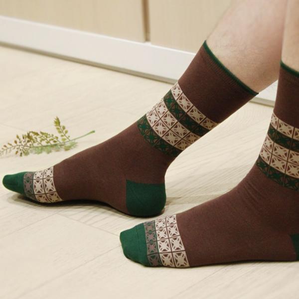 印花樂厚中長襪-舊花磚1號/沉穩灰綠色 襪子, 中長襪
