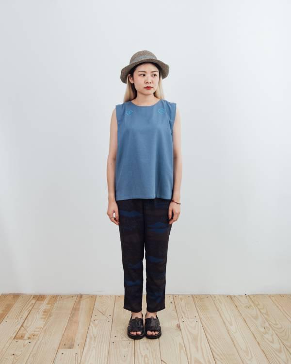 無袖打褶上衣/雜花/棉麻灰藍 2019,女裝上衣,玻璃海棠