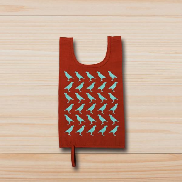 可收捲小背心袋/台灣八哥/赭石褐綠 背心袋, 購物袋