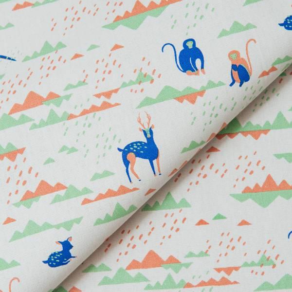 手印棉帆布_滿花-250g/y/山中健行/灰藍紫 布料, 棉帆布, 手作材料