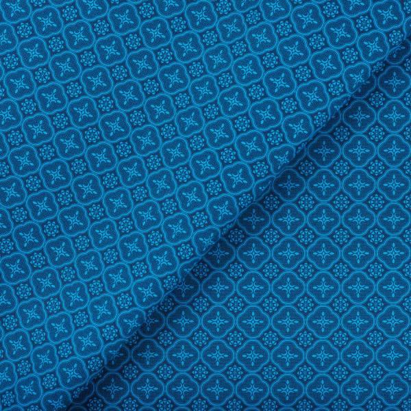 寬幅印花布8N/玻璃海棠/宅邸深藍 布料, 棉帆布, 手作材料