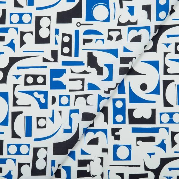 寬幅平織印花棉布(數位)/藝術家聯名/印花樂 x 陳姝里/黑藍 布料, 薄棉布