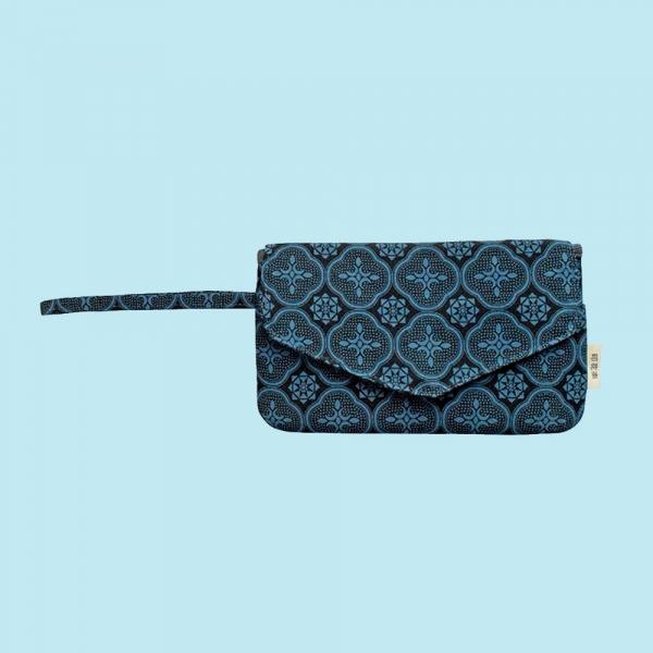 手機掛腕收納袋/玻璃海棠/島嶼邊際/海軍藍 手機袋, 零錢包, 卡夾