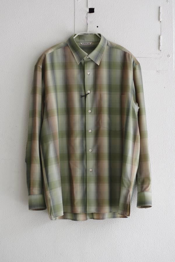 AURALEE - super light wool check shirts