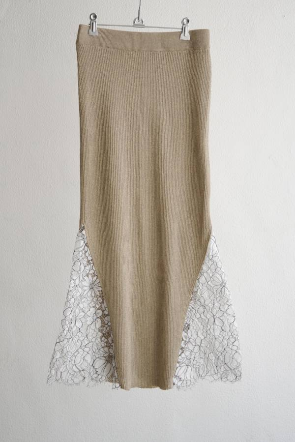 babaco - glittery ribbed skirt with leavers lace
