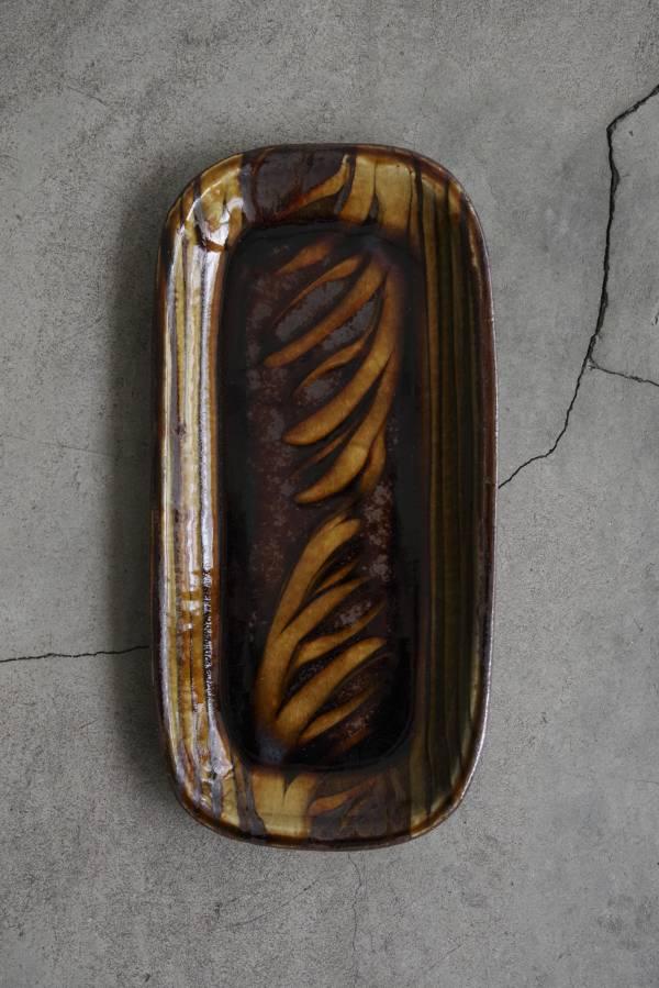 民藝 - 小代燒fumoto窯 slip長方皿(秋刀魚皿)
